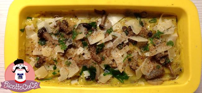 lasagna zafferano pecorino funghi pioppini chiodini champignon trifolati pecorino crotonese bio masseria de tursi moulinex cuisine companion ricette cuco