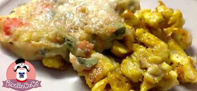 Straccetti di Pollo alla spagnola con Tortino Primavera con il Cuisine Companion straccetti pollo tortino carote patate zucchine moulinex cuisine companion ricette cuco