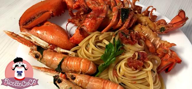 Linguine in bianco con astice e scampi - Ricetta Classica in padella