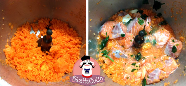 bocconcini salmone carote svezzamento bambini monsier cuisine moncu moulinex cuisine companion ricette cuco bimby