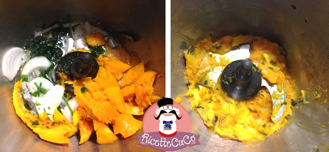 carbonara zucca bambini alimentazione microonde monsier cuisine moncu moulinex cuisine companion ricette cuco bimby