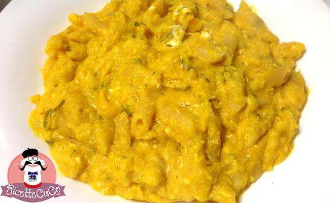 Carbonara di Zucca Gialla con il Cuisine Companion carbonara zucca bambini alimentazione microonde monsier cuisine moncu moulinex cuisine companion ricette cuco bimby