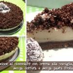 Sbrisolona veloce al cioccolato con ripieno di crema alla vaniglia, senza cottura e senza pasta frolla