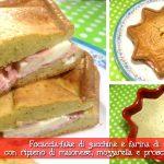 Focaccia-fake di zucchine e farina di farro con ripieno di maionese, mozzarella e prosciutto cotto con il Cuisine Companion